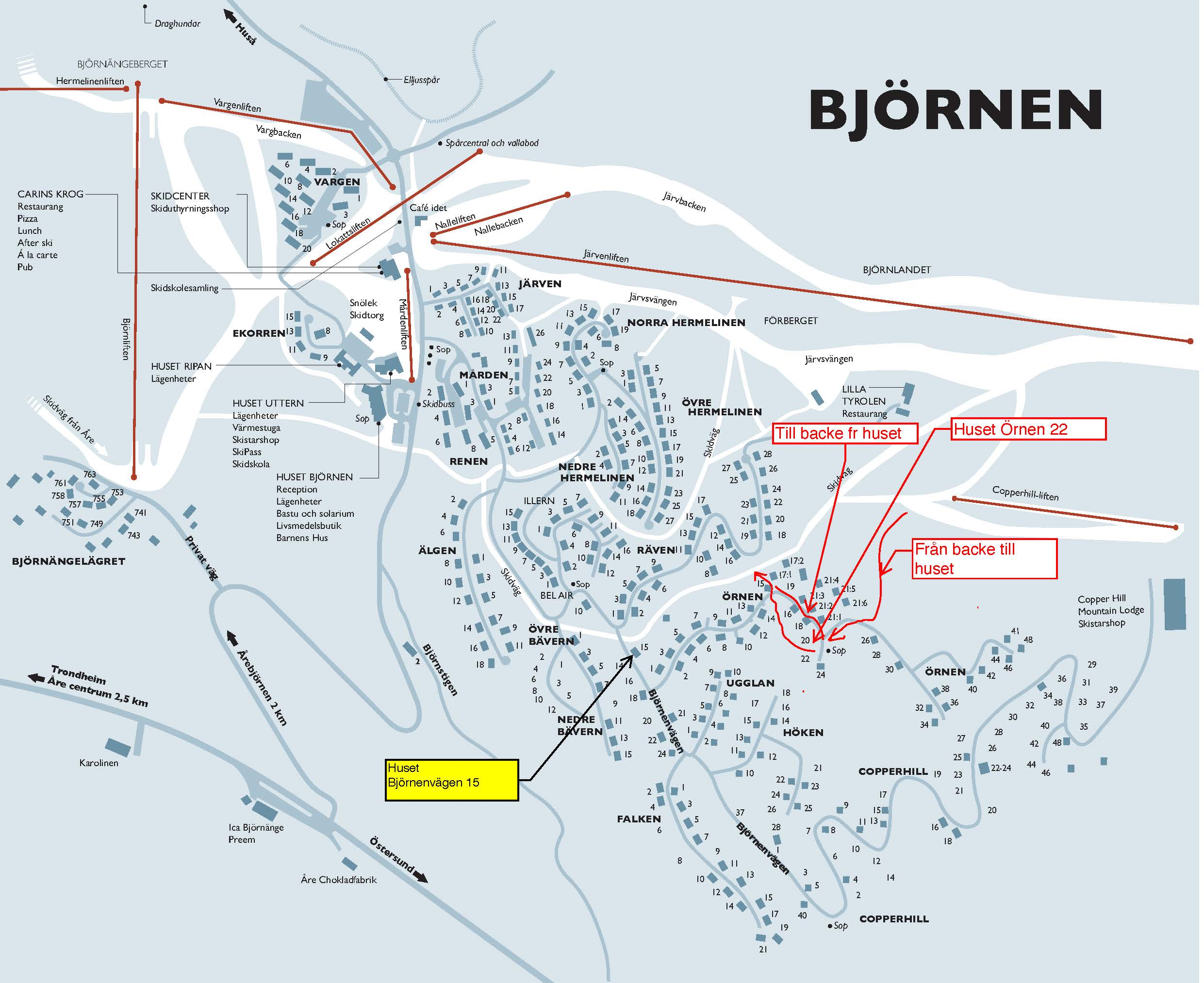 Karta Björnen BV15 samt Örnen22 inkl skidvägar